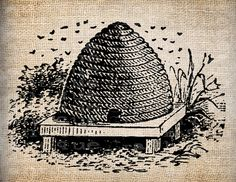 Antique Bee Skep Hive Digital Download For By AntiqueGraphique 100