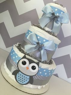Deluxe Owl Diaper Cake in Blue and Gray Owl Baby by AllDiaperCakes