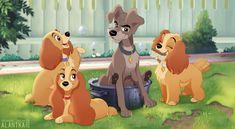 Ladies and the Scamp by Alantka on DeviantArt Disney Pixar, Disney Amor, Disney Dogs, Cute Disney, Disney Animation, Disney And Dreamworks, Disney Magic, Funny Disney, Disney Characters