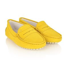 Tods Yellow Suede Leather Moccasins