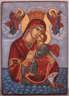 Panagia H Thalassini Religious Images, Religious Icons, Religious Art, Byzantine Icons, Byzantine Art, Church Icon, Christian Artwork, Religion Catolica, Blessed Mother Mary