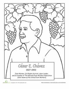 Famous hispanic americans coloring pages school for Cesar chavez coloring page