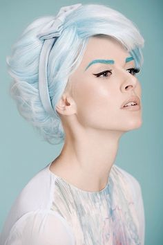 Powder blue with eyebrows to match! So pastel chic! #PowderBlue #Hair #Sytyle