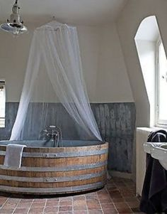 Bathing in wood is luxurious and greener than using modern materials. Plus wood holds the heat longer than other tub material.