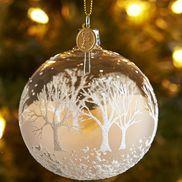 European Glass White Tree Ornament