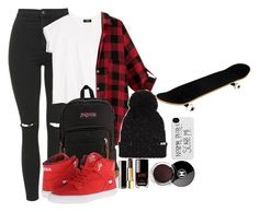 """""""skatepark"""" by heyimvalee ❤ liked on Polyvore featuring beauty, Topshop, MANGO, JanSport, Supra, Chanel and Vans"""