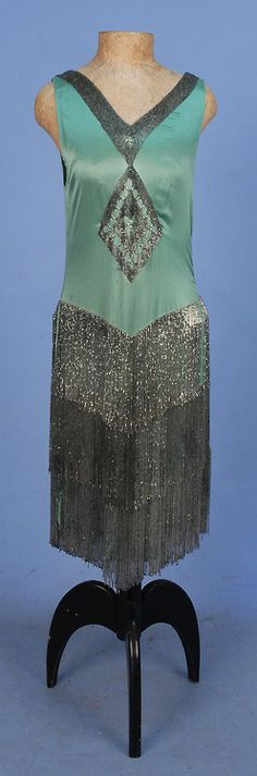 ART DECO BEADED SATIN FLAPPER DRESS with FRINGE, Sleeveless seafoam silk charmeuse with V-neck & back decorated with a band of crystal bugle beads, front & back diamond medallions & three tiers of beaded fringe. 20s Fashion, Art Deco Fashion, Fashion History, Retro Fashion, Vintage Fashion, Vestidos Vintage, Vintage Gowns, Antique Clothing, Historical Clothing