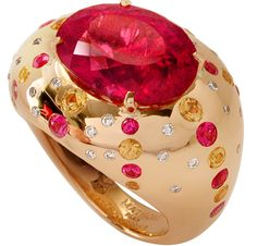 Bague Circé by Mathon Or rose Diamants Rubellite Saphirs roses
