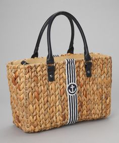 Take a look at this Natural Straw & Navy Anchor Tote by Straw Studios on #zulily today!