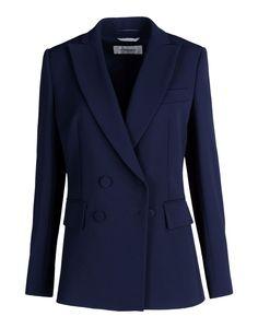 Sportmax: Navy Crêpe Double-Breasted Blazer
