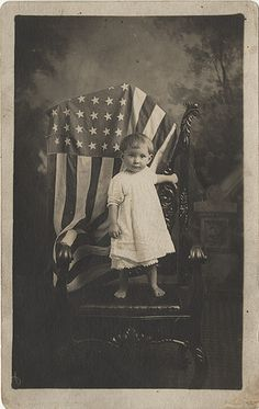 Barefoot Baby with an American Flag - Real Photo Postcard | by Photo_History - Here but not Happy
