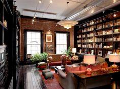 exposed brick + dark wood + built-in bookshelves