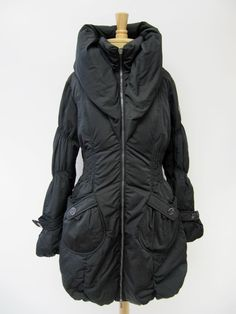 AUTHENTIC Women's Happy Goat Lucky Black Down Puffer Jacket Long Coat Size M #HappyGoatLucky #BasicCoat