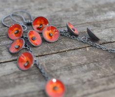flame earrings - sterling silver , copper, and enamel, by wildflowerdesigns