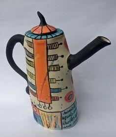 Cécile Brillet, tea pot, stoneware, china clay slips, glaze