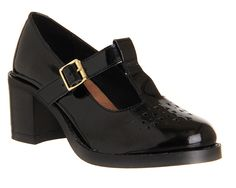 Office Genre Cut Out T Bar Black Patent Leather - Mid Heels