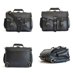 The Marlondo Wing Briefcase in full grain black vegetable tanned leather Tas Kulit, Leather Briefcase, Leather Bags, Brass Buckle, Messenger Bag Men, Travel Kits, Classic Leather, Vegetable Tanned Leather, Business Travel