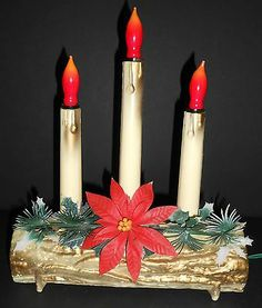 Vintage 3 Light Flame Bulb Yule Log Blow Mold with Poinsettia Trim for Christmas | eBay