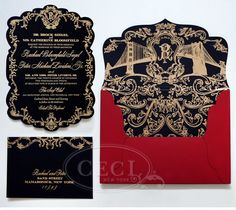 awesome Black and Gold Wedding Invitations