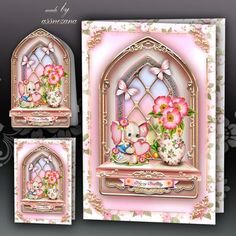 Baby Pink Windows Card Kit by Atlic Snezana Baby Pink Windows Card Kit: 4 sheets for print with decoupage for 3D effect plus few sentiment tags (for your own personal text)