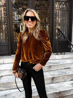 Velvet Top Thanksgiving Outfit & Where to Shop for Black Friday