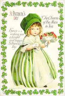 Get our St. Patrick's Printable vintage girl with greeting. She's from 2010 and not as high resolution as  what we have now for our free printables but she is lovely and prints great at postcard size.