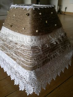 DIY lamp shade. similiar with scalloped/sea lace and pearls?