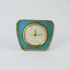 UMF Ruhla Leisegang Vintage German alarm clock, turquoise blue mechanical old clock, Working mid century clock, retro Desk clock