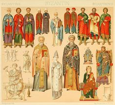 "BYZANTINE EMPIRE (examples from c. 9th-11th centuries): drawings from ""Le costume historique(…)"" vol.3 by Auguste Racinet, 1888."