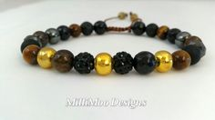 Gorgeous Boho Mens/Unisex Multi Gemstone Friendship Bracelet in Black/Brown/Gold with Chinese Knot Closure by MilliMooDesigns on Etsy
