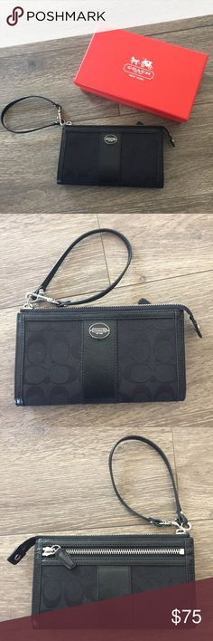 Coach Wallet Wristlet, Black Coach Wallet Wristlet, Black. Excellent used condition. No flaws.  Lots of pockets on the inside to sort cards and hold small things.  Measurements: Length: 7.5 inches, Width: 4.5 inches, Strap has a 5 inch loop.  Comes with red Coach box. Coach Bags Clutches & Wristlets