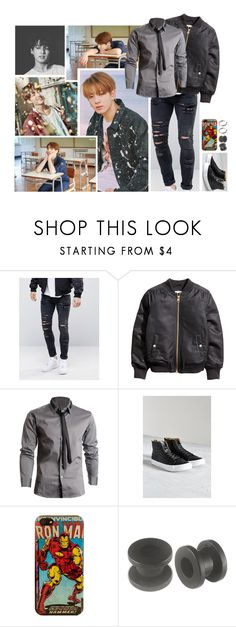 """Oorn / Ootn { JungKook }"" by believe-in-you-always ❤ liked on Polyvore featuring ASOS, Vans, Marvel Comics, Sophie Buhai, men's fashion and menswear"