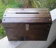 Large Wooden Wedding Treasure Chest Card Box With Card Slot Dark Walnut
