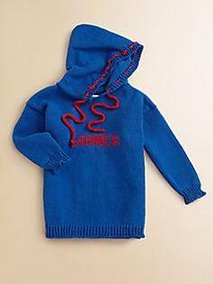 MJK Knits  Personalized Kid's Hoodie/Blue