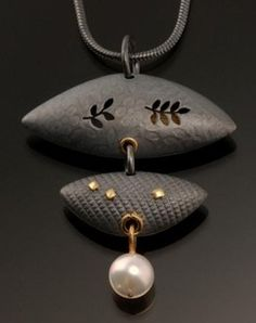 Two Pod pendant of oxidized sterling and pearl by  Barbara Bayne