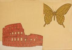 Renato-Mambor,-Colosseo-e-farfalla,-1966,-Smalto-e-acrilico-su-tela -