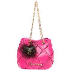 Betsey Johnson Fushia Cross Your Heart Drawstring Bag ($108) ❤ liked on Polyvore featuring bags, handbags, shoulder bags, fushia, white drawstring bag, white shoulder bag, drawstring bag, heart purse and betsey johnson handbags