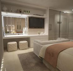Cozy suite with panel for TV and LED mirror &; Cozy suite with pan . - Cozy suite with panel for TV and LED mirror &; Cozy suite with panel for TV and LED mirror &; Luxury Bedroom Design, Bedroom Closet Design, Girl Bedroom Designs, Home Decor Bedroom, Home Interior Design, Bedroom With Tv, Master Bedroom, Master Suite, Bedroom Ideas