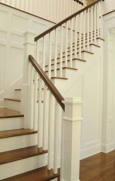 Wooden Stairs Diy Staircase Makeover Basements 22 Ideas For 2019 – Decor is art Painted Staircases, Painted Stairs, Bannister Ideas Painted, Painting Wooden Stairs, Escalier Design, Stair Handrail, Banisters, Wooden Staircase Railing, Craftsman Staircase