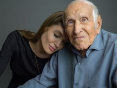 Angelina Jolie and Louis Zamperini. RIP ~ the world lost a hero. This story is unreal and beyond inspiring. Love this man.