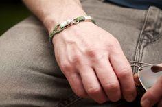 www.877workshop.com — Men's bracelet Canvas Sterling Silver hook green
