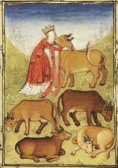15th century (first quarter?) France?  Paris, Bibliothèque nationale de France  Français 606: L´Epistre Othea by Christine de Pisan  fol. 22r - Pasiphae