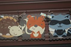 Woodland animal banner with owl foxhedgehograccoon by paperclever, $26.00, nice detail on ribbons