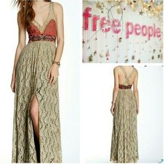 Stunning Free People Crushed Gold Dress V-neck, side-zip closure, sleeveless, back criss-cross detail, embroidered bodice and waist, lace lower, lined, approximately 61 inches in length. Fits true to size! This dress is amazingly beautiful. It retails for $400, size 2. Free People Dresses Prom