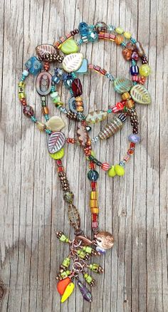 Mixed GlassWear Necklace (muted brights) by Toni McCarthy