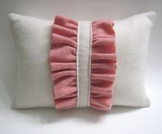 Pink on White Cashmere Ruffle Throw Pillow Handmade from Felted Cashmere Sweaters. $28.00, via Etsy.