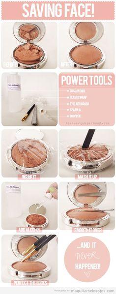 Tutorial paso a paso para arreglar maquillaje o coloretes polvo cuando caen suelo