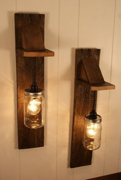 Pair of Mason Jar Chandelier Wall Mount Fixture -- Mason Jar Lighting - Upcycled Wood - Mason jar pendant (Woodworking Rustic) Mason Jar Light Fixture, Mason Jar Chandelier, Mason Jar Lighting, Mason Jar Lamp, Pots Mason, Bottle Chandelier, Chandelier Ideas, Chandelier Lighting, Diy Mason Jar Lights