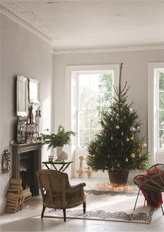 Farrow & Ball Dimpse 277 - Living Room walls painted in Dimpse Farrow Ball, Farrow And Ball Paint, Christmas Tree In Basket, Noel Christmas, All Things Christmas, Xmas, Simple Christmas, Beautiful Christmas, White Paint Colors
