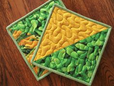 Vegetable Pot Holders Green Yellow Quilted Hot by MommaBearsQuilts